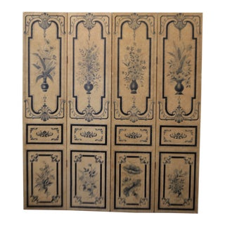 19th Century Para-Vent, Screnn, Hand Painted Floral Designs on Parchment Paper, Navy Blue and Beige. For Sale