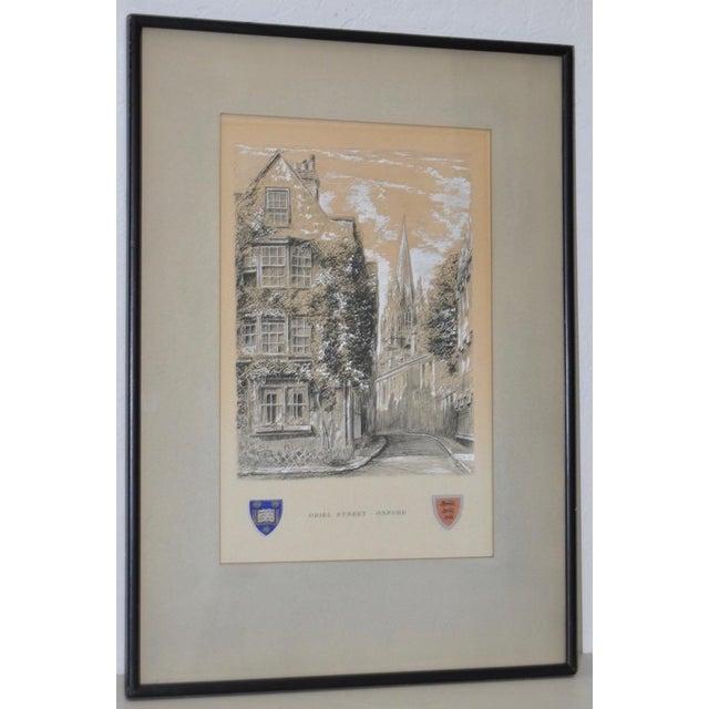 "Oriel Street, Oxford Original Illustration ""Dominus Illuminatio mea"" c.1953 Wonderful all original pen, ink, watercolor..."