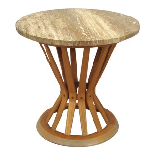 Travertine Top Sheaf of Wheat Occasional Table by Edward Wormley For Sale