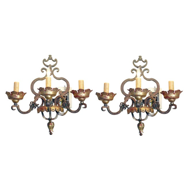 Italian Bronze Sconces Pair For Sale In New Orleans - Image 6 of 6