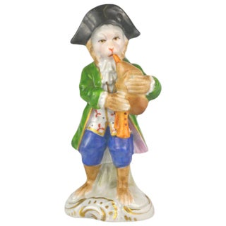 Antique Porcelain Monkey Musician, from Germany, Green Coat For Sale