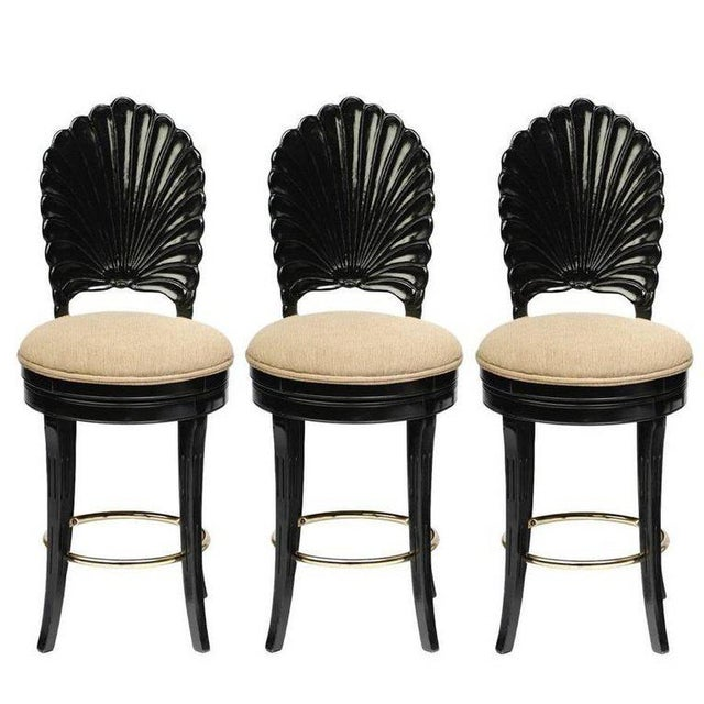 Set of Three Italian Carved Shell Back Bar Stools For Sale - Image 10 of 10