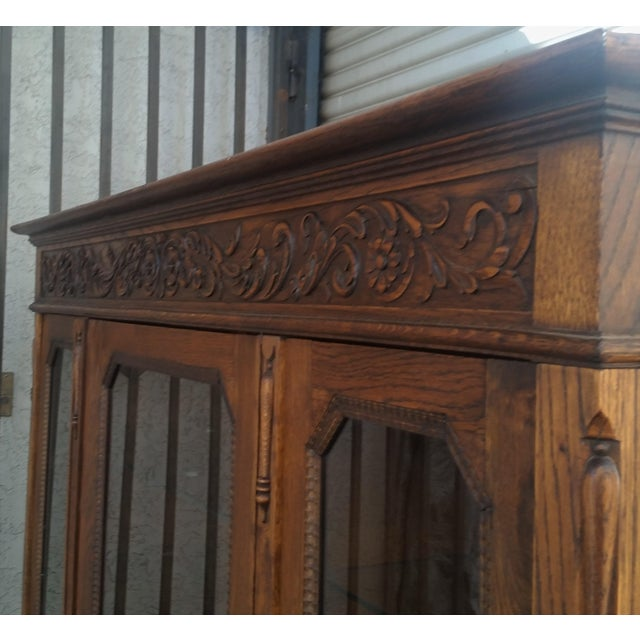 Antique Oak Barley Twist Bookcase Display China Cabinet / Bookcase Hutch For Sale In Los Angeles - Image 6 of 12