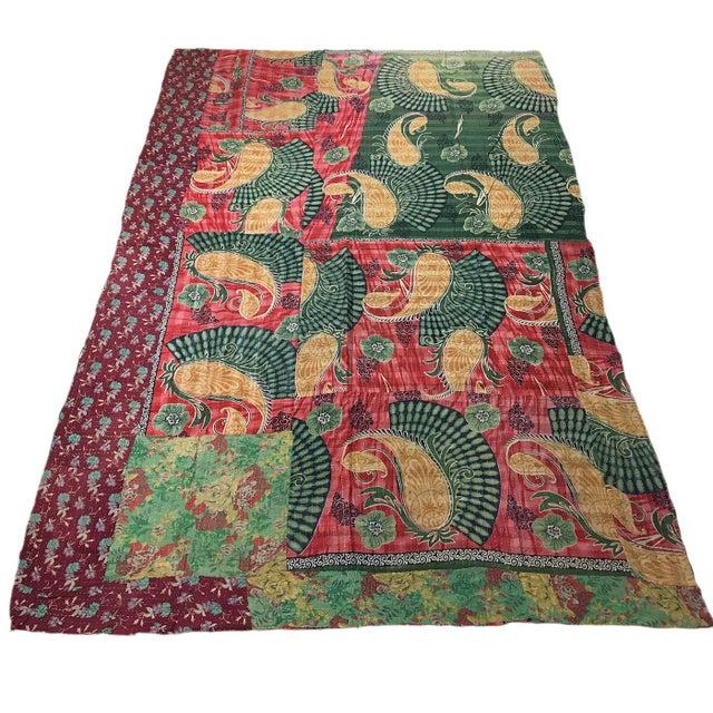 Boho Chic Vintage Kantha Quilt For Sale - Image 3 of 3