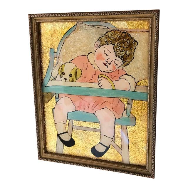 Vintage Reverse Paint Glass Baby Folk Artwork For Sale