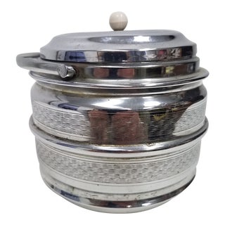Art Deco English Stainless Steel Biscuit Barrel With Bakelite Top For Sale