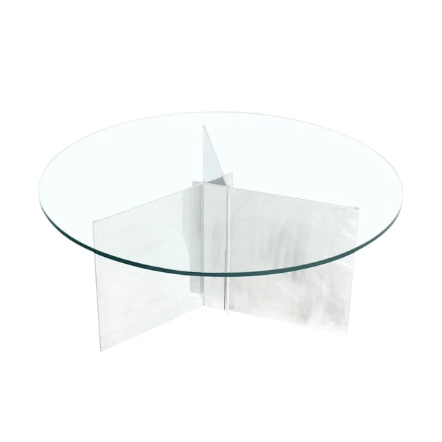 Paul Mayen for Habitat Round Glass Topped Triangular Based Coffee Table For Sale