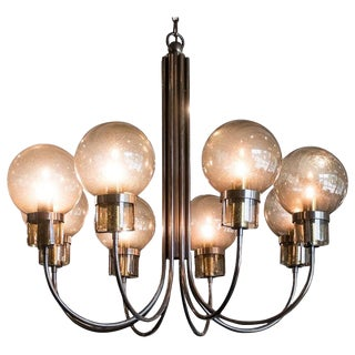 Large Bronze Chandelier With Smoked Glass, France, 1970s For Sale