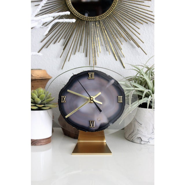 Modern Gray Agate Desk Clock - Image 4 of 8