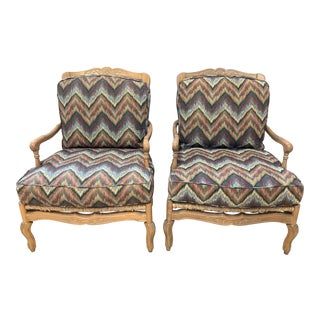 Custom Washed Finished + Kravet Bergere Armchairs - a Pair For Sale