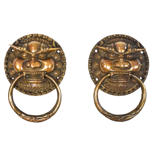 Late 20th Century Vintage Dragon King Motif Brass Door Knockers- a Pair For Sale