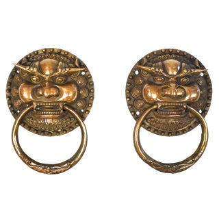 Vintage Dragon King Brass Door Knockers- Large Pair For Sale
