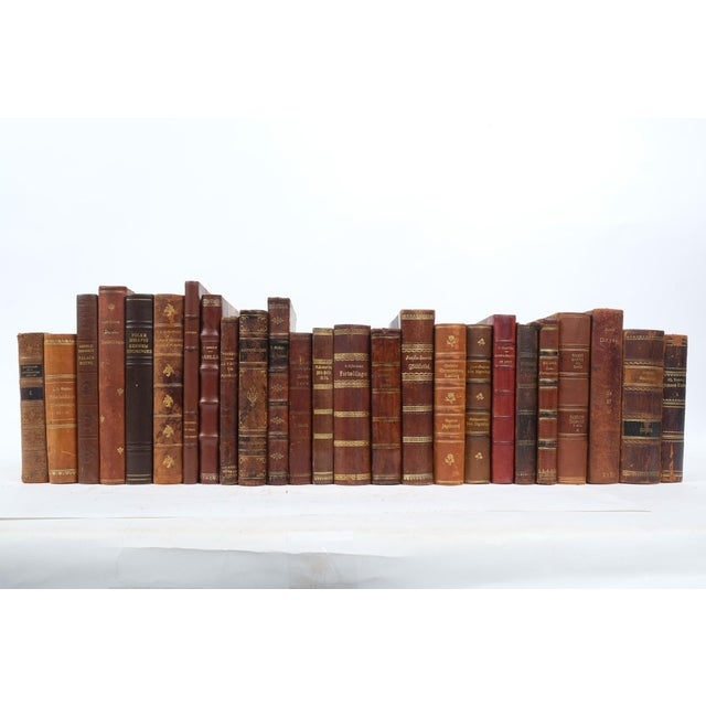 Set of 25 leather bound books printed in Scandinavia in the early 20th-century.