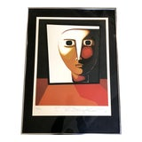 Image of Abstract Colorful Face Limited Edition Lithograph Print by Antonio Guanse For Sale