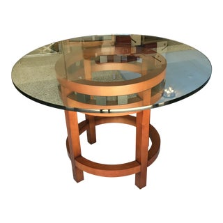 Contemporary Cherry Wood Round Glass-Top Dining Table For Sale
