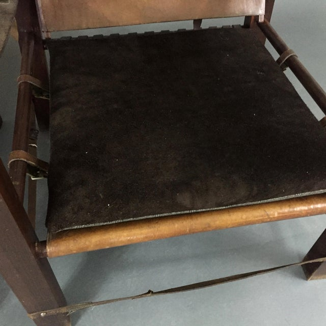 American Mid-Century Safari Chair, Reversible Seat Cover For Sale - Image 11 of 13