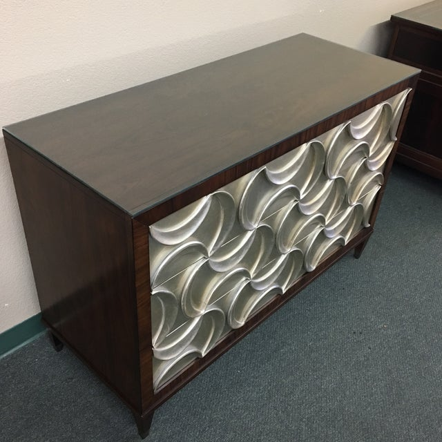 Caracole Caracole Rosewood & Silver Tie One On Three Drawer Chest For Sale - Image 4 of 11
