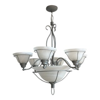 Traditional Metal & Glass Cup Chandelier For Sale