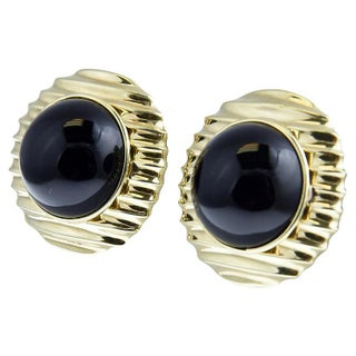 Cabochon Onyx Set in Gold Frame Earrings Preview