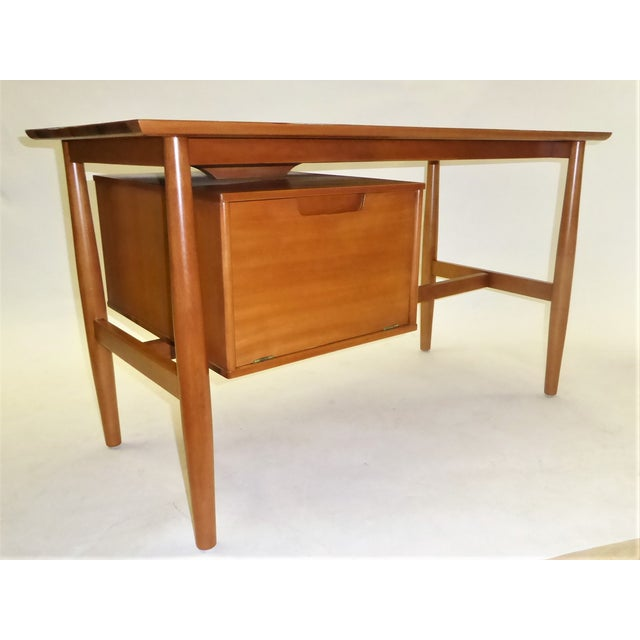 """Beautiful blond elm wood Milo Baughman for Drexel Writers Desk from the """"Todays Living"""" collection with a floating top and..."""