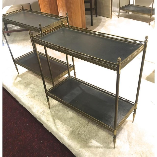 Hollywood Regency Maison Jansen 1940s Pair of Two-Tier Side Table With Black Leather Patinated Top For Sale - Image 3 of 8