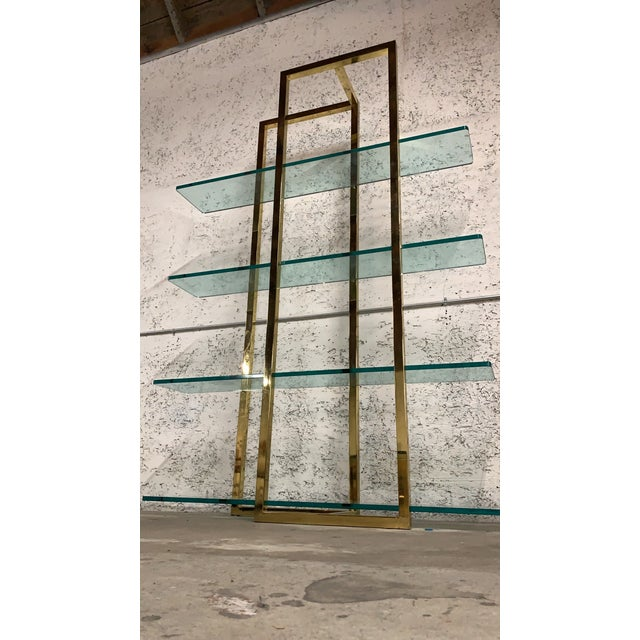 Metal Stunning Vintage Architectural Brass Etagere in the Manner of Milo Baughman For Sale - Image 7 of 7