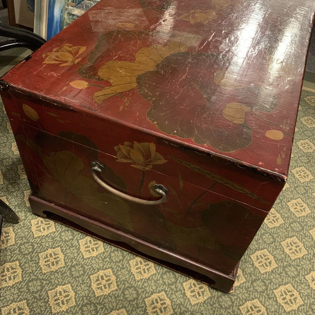 Metal Vintage Chinese Lacquered Wedding Trunk For Sale - Image 7 of 10