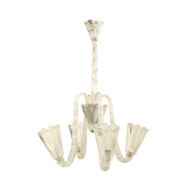 1940s Italian Opalescent Glass Chandelier by Barovier E Toso For Sale