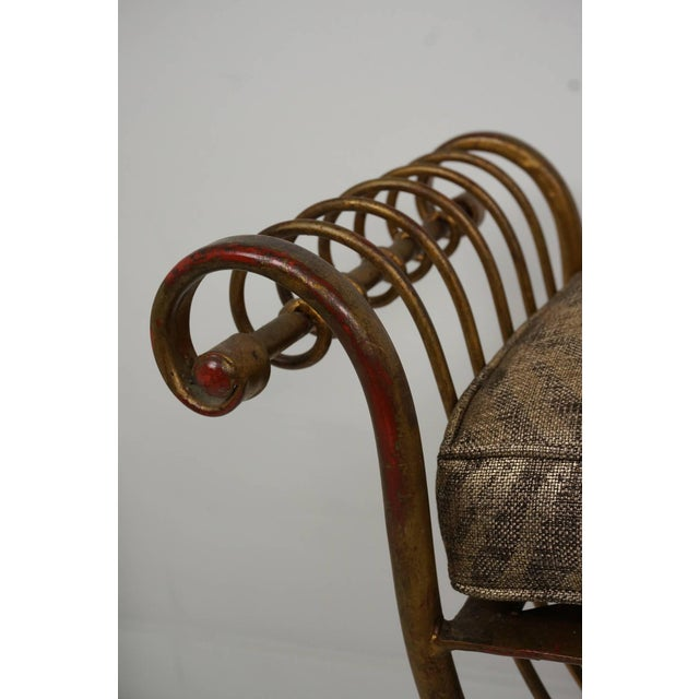 Metal Hollywood Regency Gold Gilt Metal Bench With Tiger Cushion, Italian 1960s For Sale - Image 7 of 11