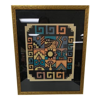 Aztec Woodcut Composition, Framed For Sale