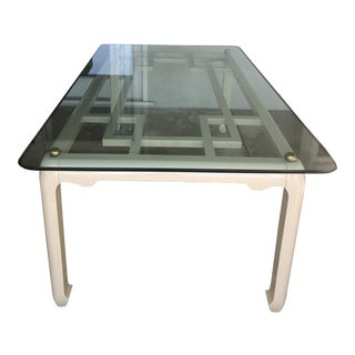 Mid Century Lacquered Fretwork Dining Table For Sale