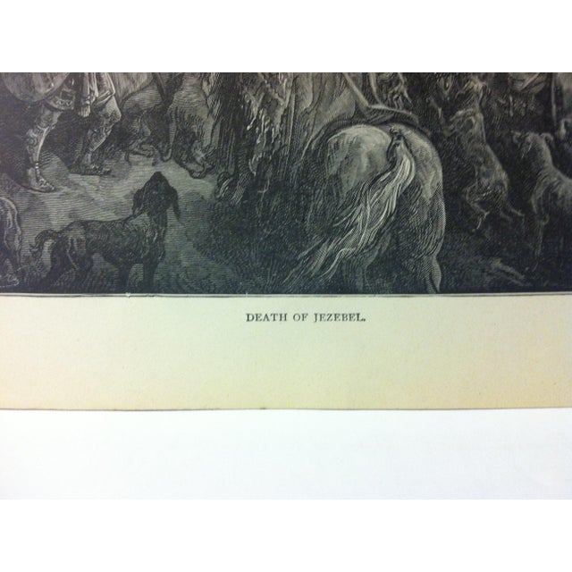 "Illustration Antique 1901 Gustave Dore Illustrated Print on Paper ""Death of Jezebel"" For Sale - Image 3 of 4"