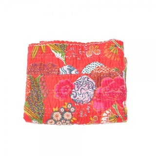 Red Floral Kantha Throw - Queen For Sale