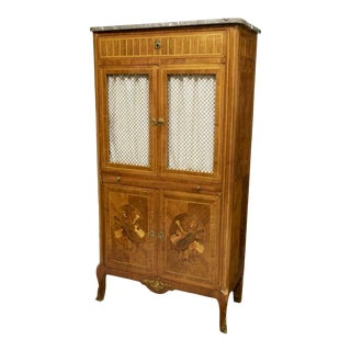 19th Century French Marble-Top Marquetry Sheet Music Cabinet For Sale