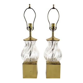 1970s Chapman Brass & Swirl Crystal Glass Lamps - a Pair For Sale