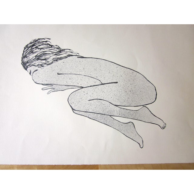 """Suzanne Peters 1970s Vintage Suzanne Peters """"Sleeping Woman"""" Original Black and White Aquatint Lithograph For Sale - Image 4 of 7"""