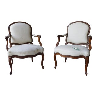Early 19th Century Antique French Louis XVI Style Bergere Chairs - A Pair For Sale