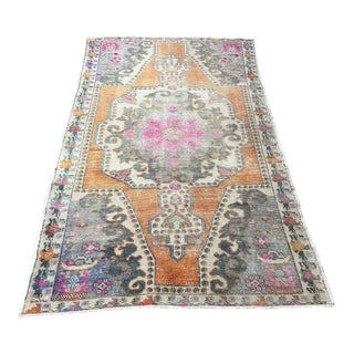 1960s Vintage Turkish Oushak Hand-Knotted Rug - 4′ × 7′2″ For Sale