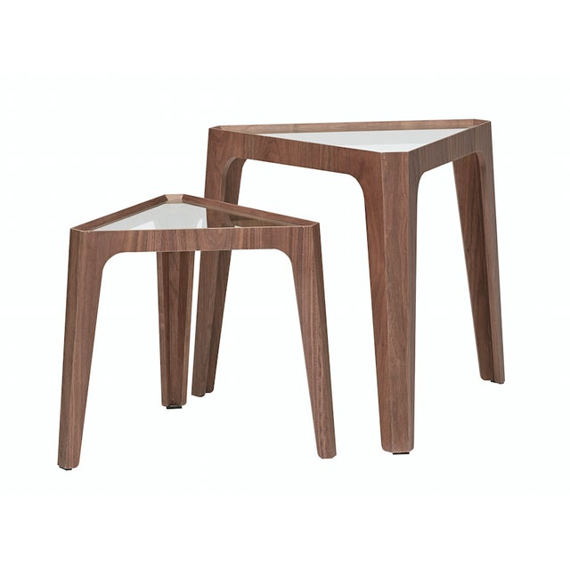 Walnut Triangular Nesting Side Tables - Image 1 of 2