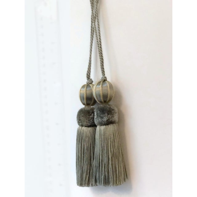 Pair of petite verdigris beaded key tassels w twisted cord that creates the key loop. Light natural colored frosted glass...