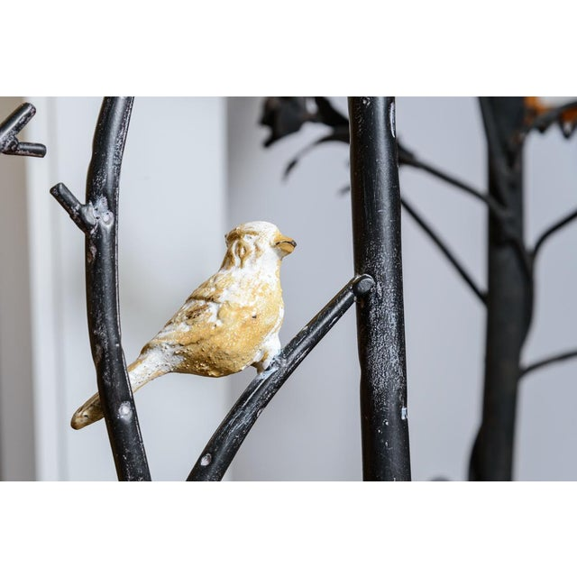 1960s Vintage Faux Bois Wrought Iron Chair With Birds on Branches For Sale - Image 5 of 13