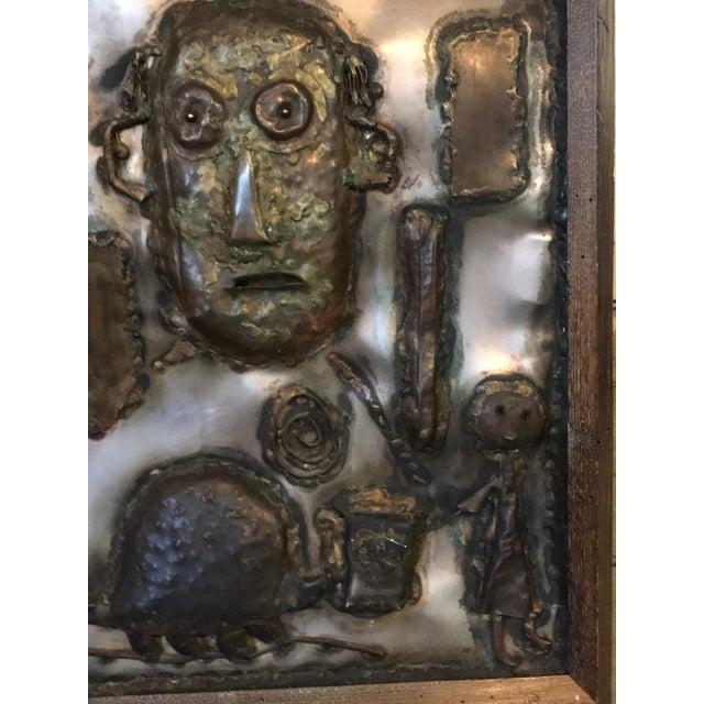 Industrial 1970s Vintage Brutalist Metal Artisan Mirror For Sale - Image 3 of 5