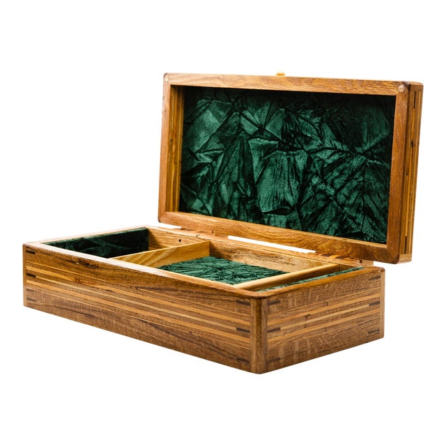 Scandinavian Lawrence & Scott Reclaimed Wood One-Of-A-Kind Lined Jewelry Box For Sale