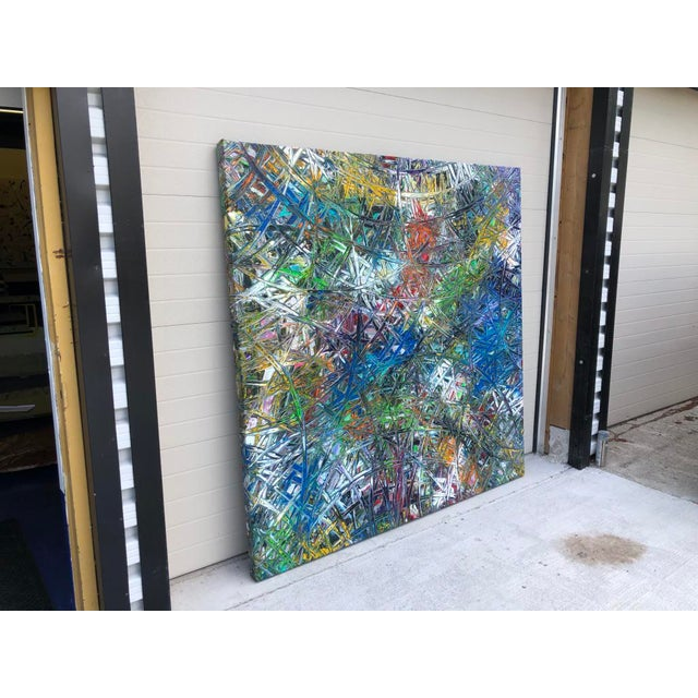 """Abstract Acrylic Painting by Artist Troy Smith - 79"""" X 79"""" - Contemporary Art - Abstraction For Sale - Image 3 of 13"""