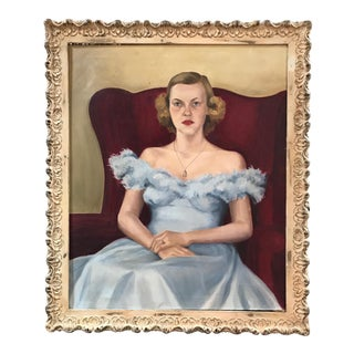 1930's Portrait of a Lady Oil on Canvas Painting