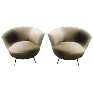 1940s Style Mid-Century Modern Bergere Chairs - a Pair