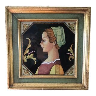 Italian Female Portrait Gilt Framed Earthenware Tile For Sale