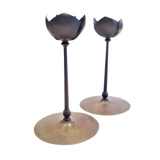 Pair of Mid-Century Modernist Anodized Brass Lotus Candlesticks, Usa, 1950s For Sale