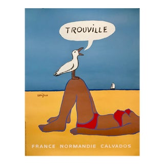 1999 Vintage French Poster, France Normandie, Trouville (Woman With Seagull) For Sale