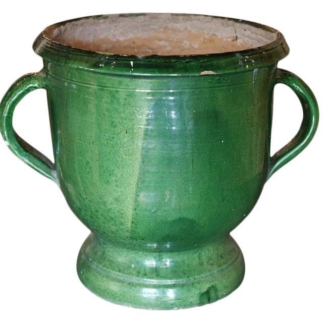 Green Glazed Terracotta Planter For Sale